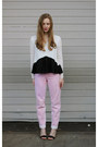 Light-pink-mom-jeans-topshop-jeans-eggshell-peplum-three-of-something-blouse