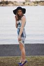 Black-mimi-and-flo-hat-blue-wedges-heels-rubi-shoes-heels