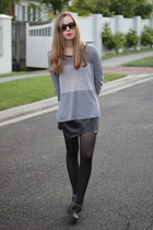 black OASAP skirt - black Lipstik shoes - black zeroUV sunglasses