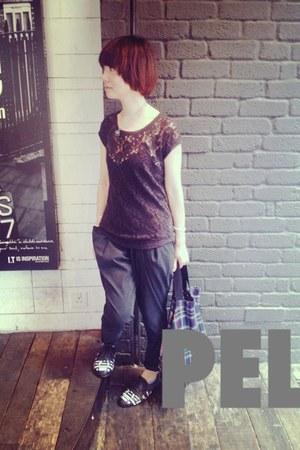 black lace t-shirt Zara t-shirt