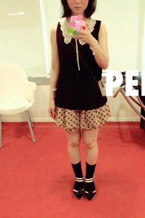 camel polka dot skirt skirt