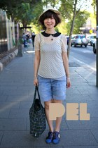 white straw hat H&M hat - forest green tote bag Topshop bag