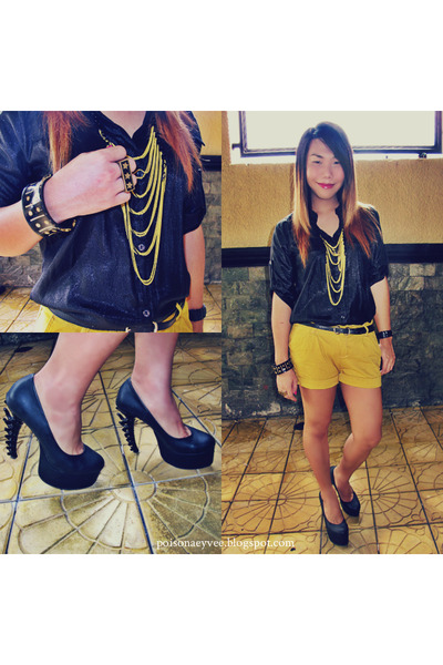 yellow Oxygen shorts - black button down shirt - yellow sm accessories necklace