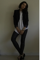Valentino blazer - boyfriends customized shirt - Ebay leggings - Topshop shoes