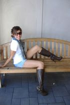 white Gap t-shirt - shorts - Forever 21 scarf - brown Shoedazzle boots