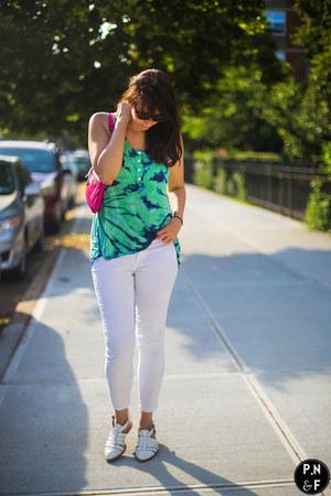 white Jeffrey Campbell shoes - white Mango jeans - pink kate spade bag