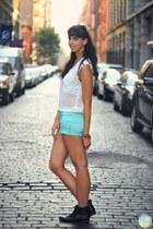 aquamarine Forever 21 shorts - black Macys boots - black Aldo bag