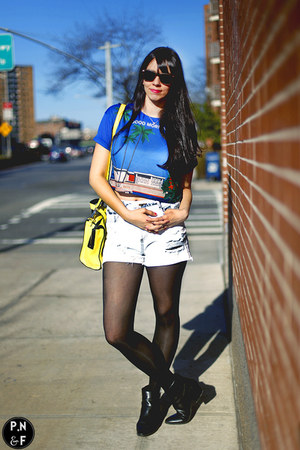 white Zara shorts - black leather shoes - yellow kate spade bag