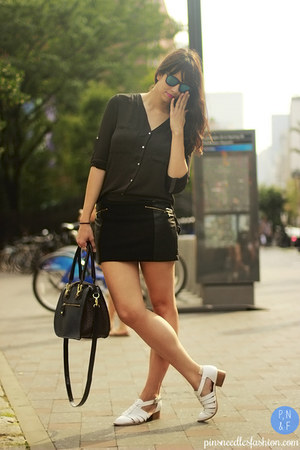 black Forever 21 skirt - white Jeffrey Campbell shoes - navy London Fog bag