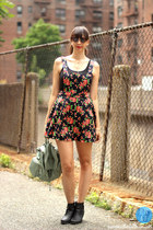 black shoes - red Forever21 dress - teal brandy melville bag - black top