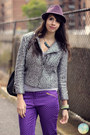 Light-purple-fedora-hat-silver-motor-style-h-m-trend-jacket