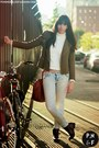 Dark-brown-wanted-boots-light-blue-h-m-jeans-olive-green-zara-jacket