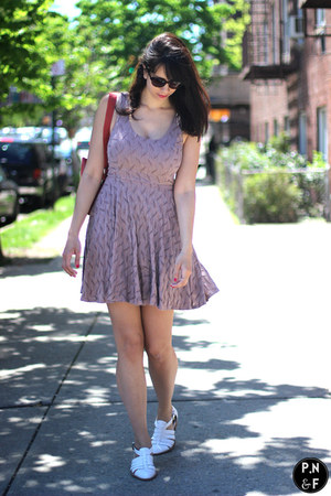 white Jeffrey Campbell shoes - peach Bar III dress - orange bag