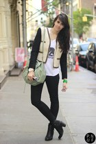 white brandy melville top - black H&M jeans - Mango jacket
