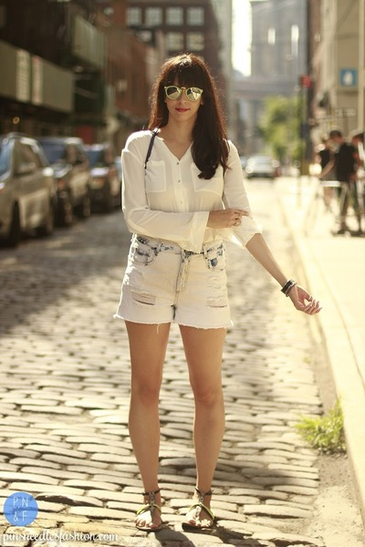 white H&M shirt - Target shoes - white Zara shorts