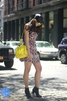 black leather Target hat - black shoes - red Guess dress - yellow kate spade bag