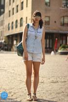 Target shoes - light blue Target shirt - teal Steve Madden bag