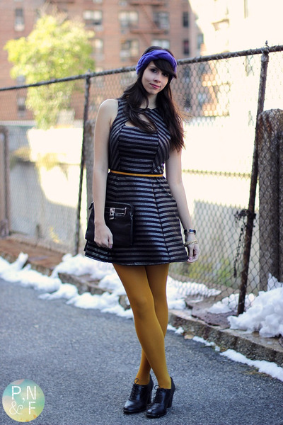 mustard Macys tights - black Forever 21 dress - deep purple H&amp;M Trend hat