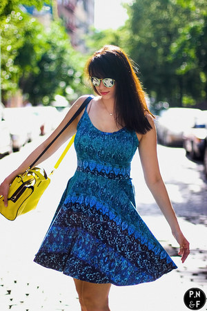 black Tahari shoes - blue cynthia rowley dress - yellow kate spade bag