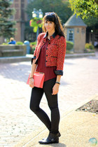 black H&M jeans - ruby red Forever 21 blazer - crimson necessary clothing shirt