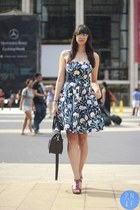 navy French Connection dress - navy London Fog bag - lime green sunglasses