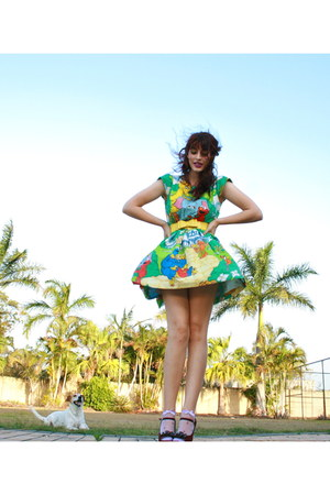 chartreuse handmade dress - periwinkle socks - yellow bow belt