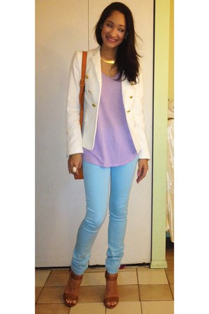 white Zara blazer - light purple Zara top - tawny sandals