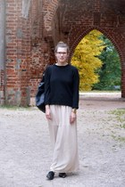 black Cubus sweater - black backpack MÄRSS bag - beige chiffon maxi DIY skirt