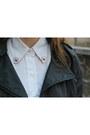 Black-cropped-leather-random-brand-jacket-white-ralph-lauren-shirt