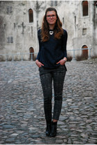 black Tamaris boots - navy Zara shirt - forest green printed OASAP pants
