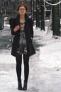 Black-tamaris-boots-charcoal-gray-floral-thrifted-dress-black-monton-coat