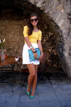 black seppl sunglasses - yellow worn as a top GINA TRICOT dress