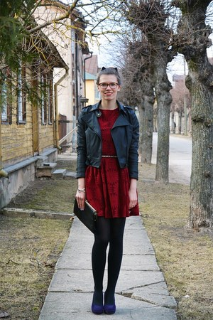 black leather thrifted jacket - purple Seppälä shoes