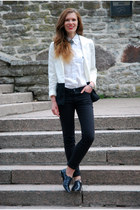 white H&amp;M blazer - black lindex jeans - white Ralph Lauren shirt