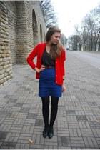 silver flea market bracelet - black random shirt - blue H&M skirt