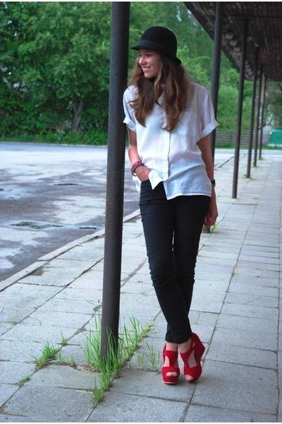 red OASAP wedges - black Vero Moda jeans - black bowler lindex hat