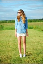 sky blue denim calvin klein shirt - ivory lace OASAP shorts