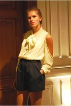 light yellow vintagediy blouse - navy vintage shorts - brown selfmade ring