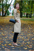 black Vero Moda jeans - beige H&M coat - black vintage bag - camel elite loafers