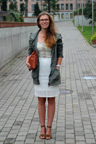 ivory lace Seppälä skirt - olive green parka KappAhl jacket - tawny DIY bag