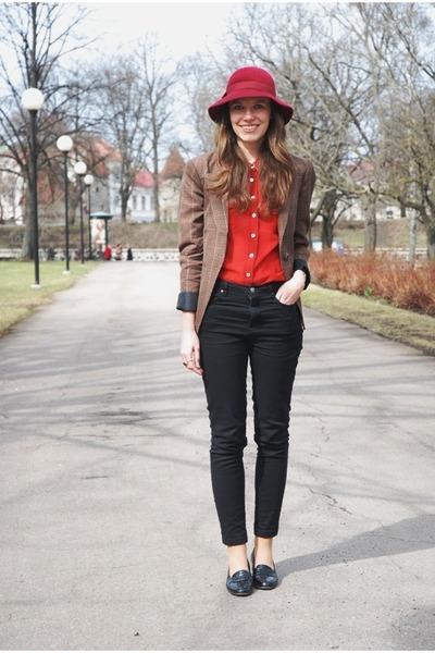 brown Vila blazer - black Vero Moda jeans - maroon vintage hat
