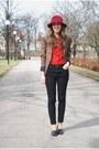 Black-vero-moda-jeans-maroon-vintage-hat-brown-vila-blazer