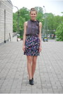 Deep-purple-printed-h-m-skirt-black-leather-random-brand-jacket
