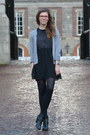 Black-tamaris-boots-charcoal-gray-h-m-dress-silver-lindex-cardigan