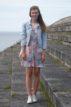 white Converse sneakers - light pink floral house dress