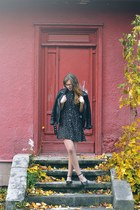 black collared Fashion Union dress - black leather Amisu jacket