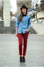 Black-lindex-hat-brick-red-amisu-jeans-sky-blue-denim-calvin-klein-shirt