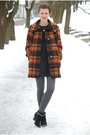 Burnt-orange-plaid-vintage-coat-black-marco-tozzi-boots