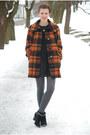 Burnt-orange-plaid-vintage-coat-black-marco-tozzi-boots