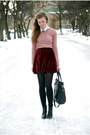 Suede-chicwish-skirt-tamaris-boots-pull-bear-sweater-thrifted-shirt